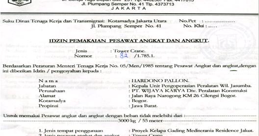 Contoh Surat Izin Operator Penggunaan Alat Berat Di Dalam