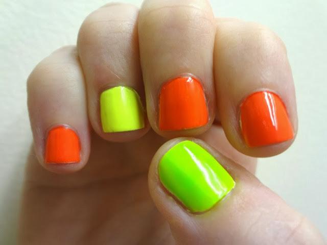 Neon orange nails, neon yellow, neon green accents, nail polish