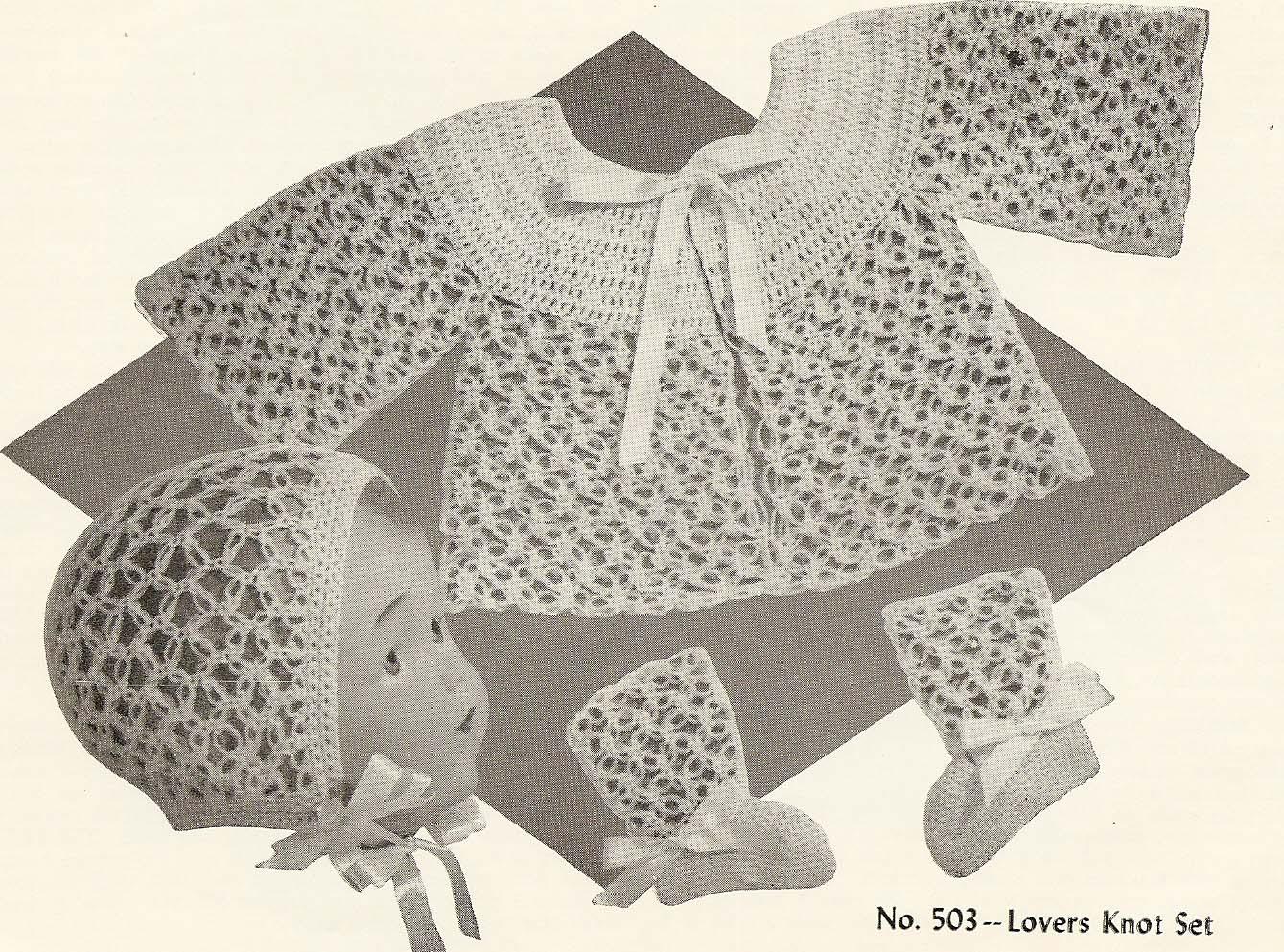 Lovers Knot Knitting Stitch : Vintage Knit Crochet Pattern Shop: Doreen For Tiny Tots Crochet Knitting Patt...
