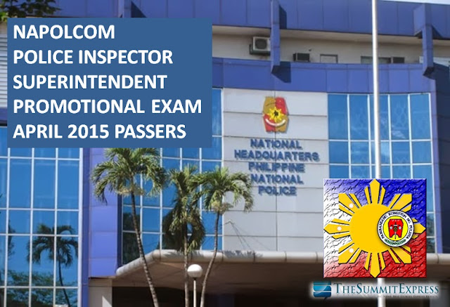 NAPOLCOM Exam Results April 2015: Police Inspector, Superintendent Passers