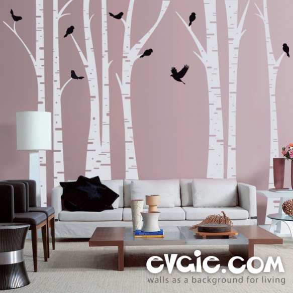 Fresh The Forest with Birds Birch Trees Wall Decal will create a magical experience in your space This popular decal can be customized to your requested