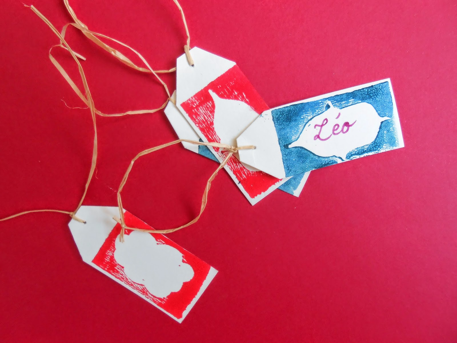étiquette linogravure Noël