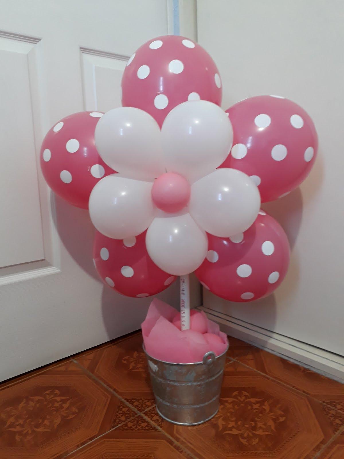 Arreglo flor de globos con maceta - Bombas para decorar ...