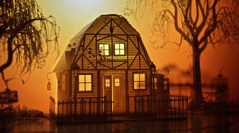 Dioramas a partir de modelos de papel cobran vida con animaciones proyectadas