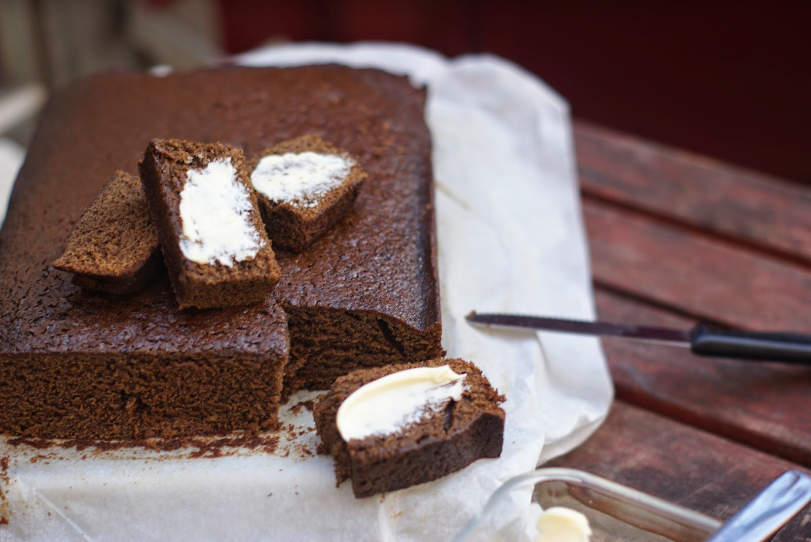 sticky gingerbread loaf with butter
