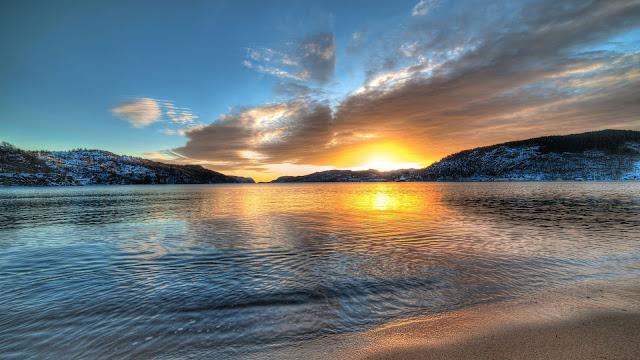 Norway Scenery Lake Sunset Mountains HD Wallpaper