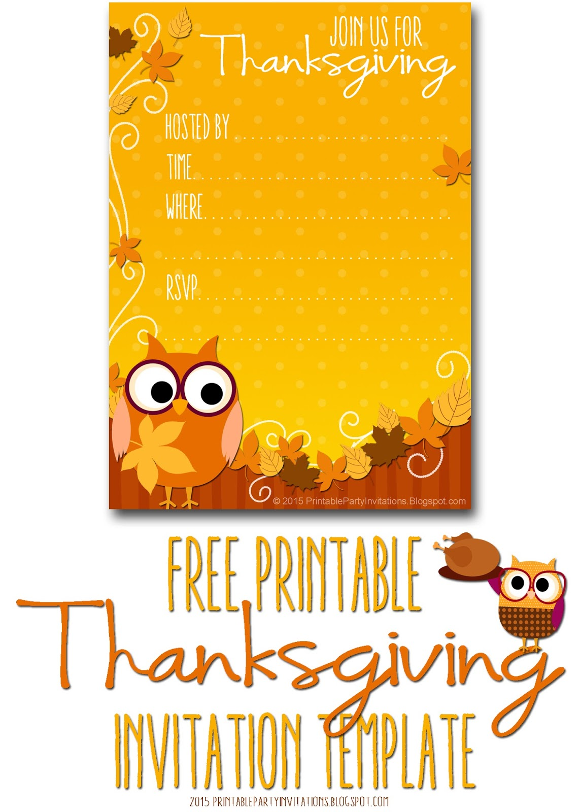 Free printable party invitations thanksgiving invite template owls are both popular right now and perennial symbols of fall so this charming autumn owl invitation template will be sure to charm your potential guests stopboris Gallery