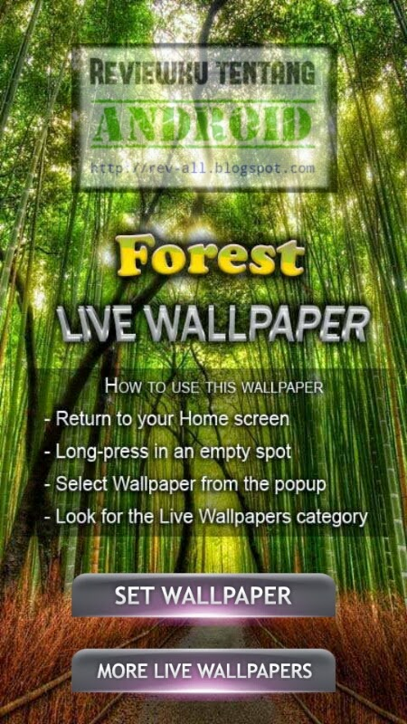 Tampilan utama - aplikasi Forest Live Wallpaper versi 3.0 (review oleh rev-all.blogspot.com)