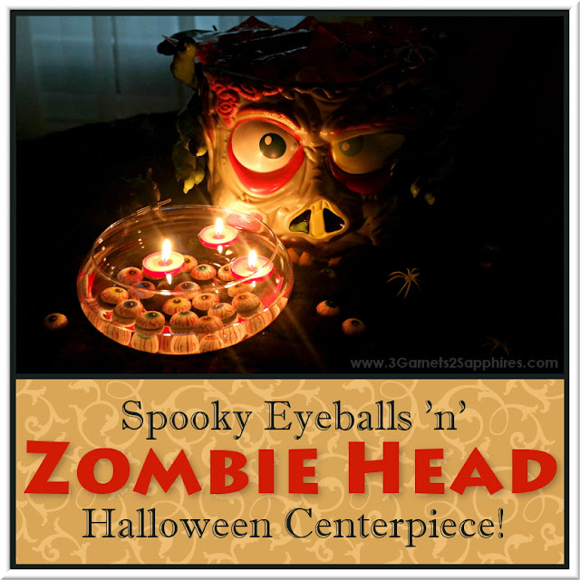 Spooky DIY Zombie Head and Eyeballs Halloween Centerpiece  |  www.3Garnets2Sapphires.com