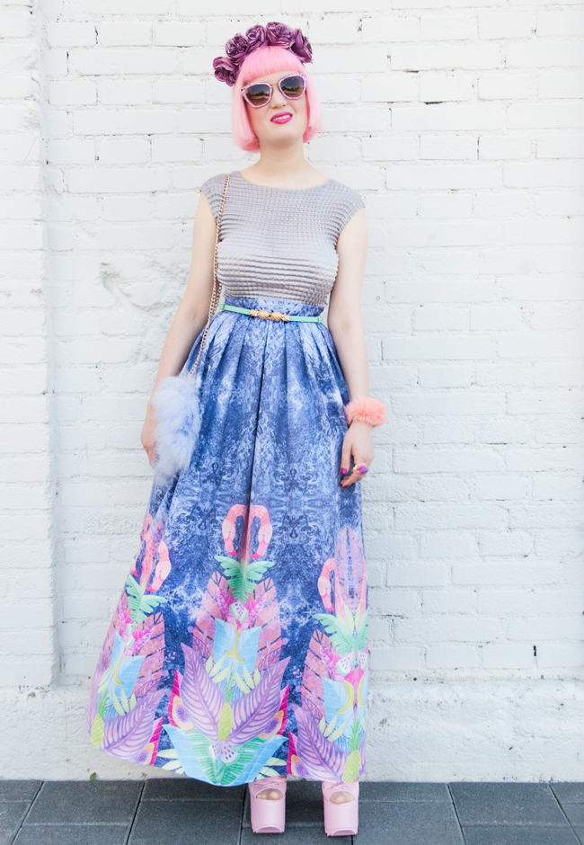 maxi skirt, blogger look, pastel outfit