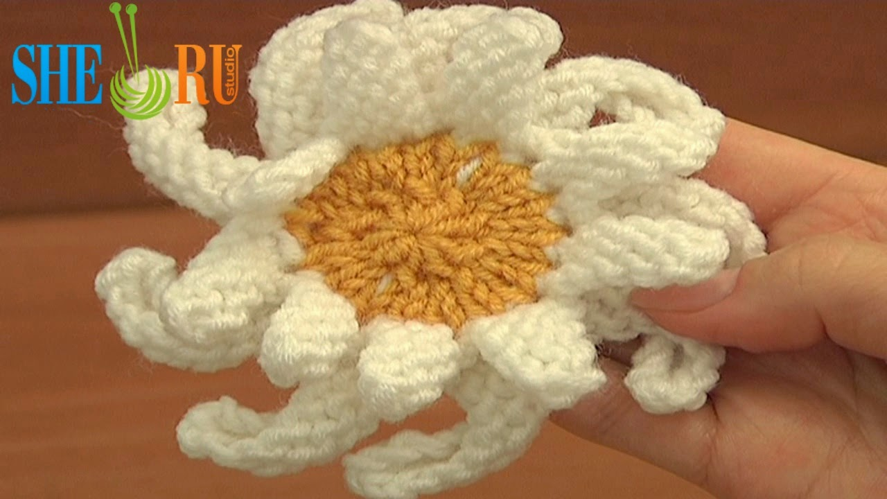 Sheruknitting 2014 learn how to knit a double layered daisy flower following free video tutorial free knitted daisy flower pattern knitting flower tutorials for beginners bankloansurffo Images