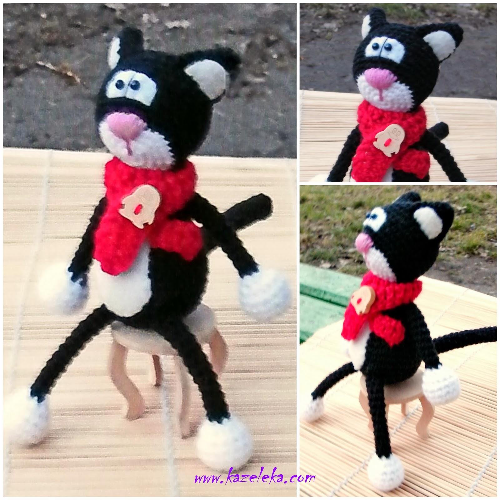 crochet black cat - вязаный черный кот