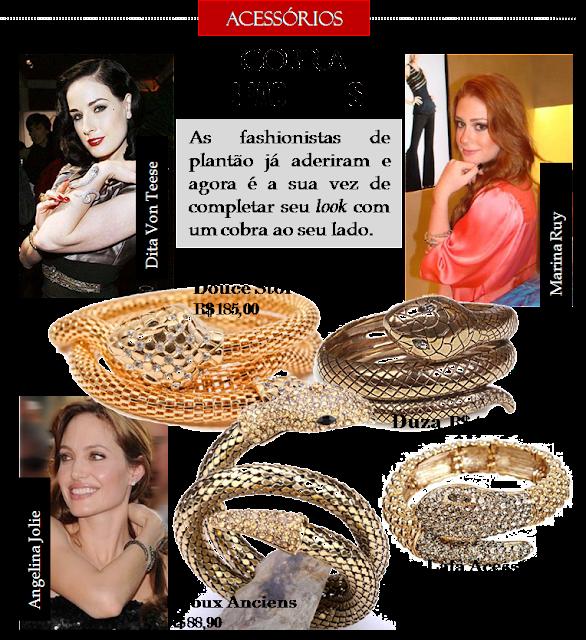 Acessórios de Bracelete de Cobra veja onde comprar e quem usa