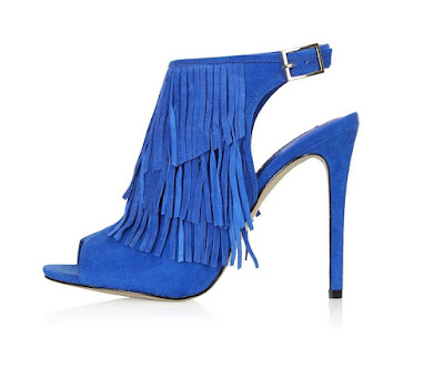 Topshop blue high heeled fringe sandals