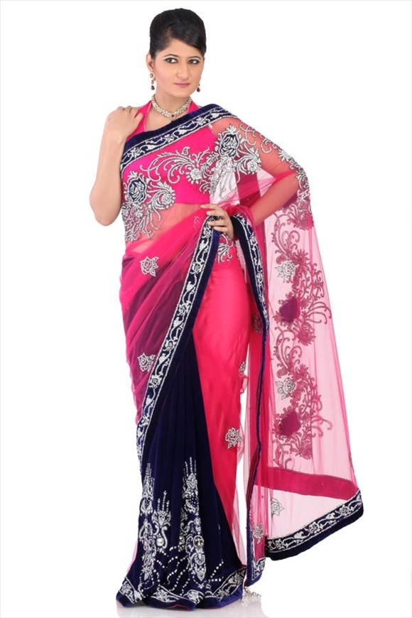 Fuschia Net Saree