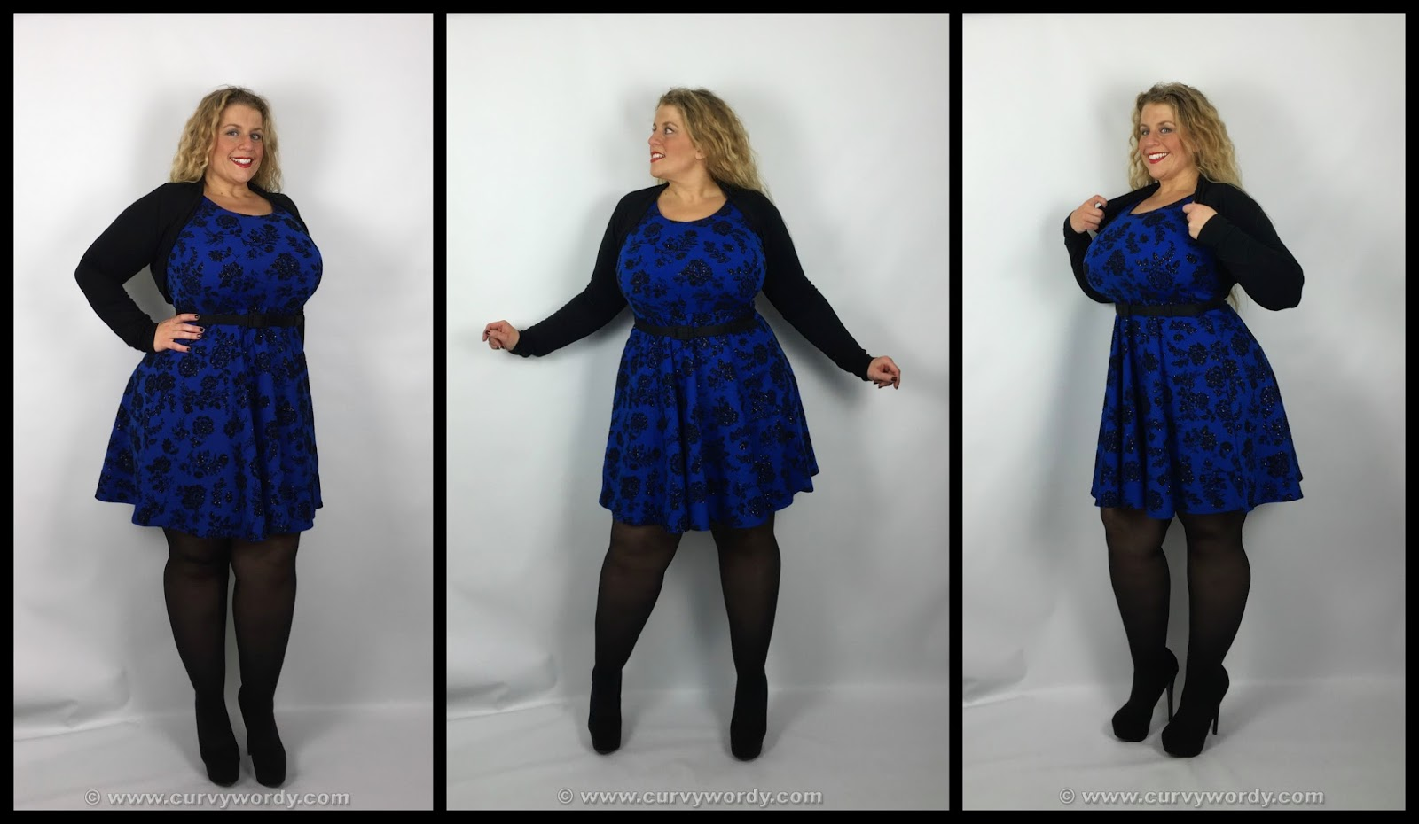 Curvy Wordy: Yours Clothing Glitter Flocked Skater Dress 18