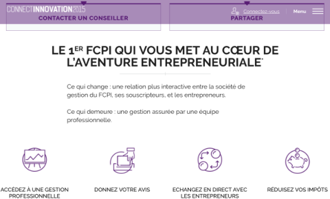 Site du FCPI Connect Innovation 2015