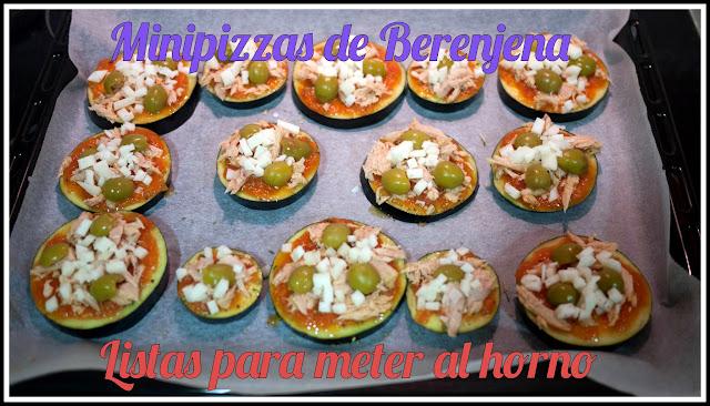 Minipizzas de berenjena listas para meter al horno