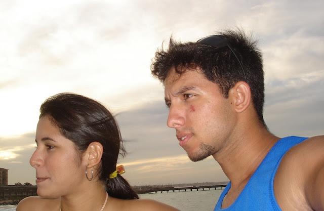 Pôr-do-sol na Ponte Metálica, com a minha esposa, em 15Dez2005