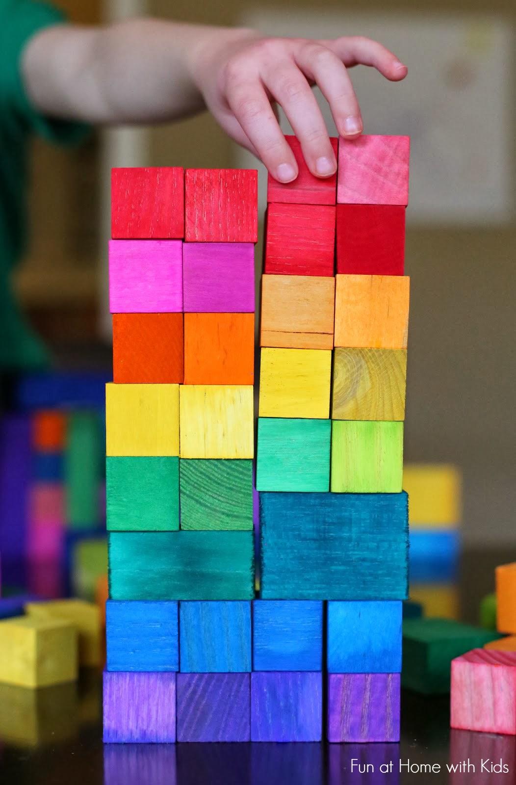 Diy dyed rainbow grimm style wooden blocks for Child craft wooden blocks