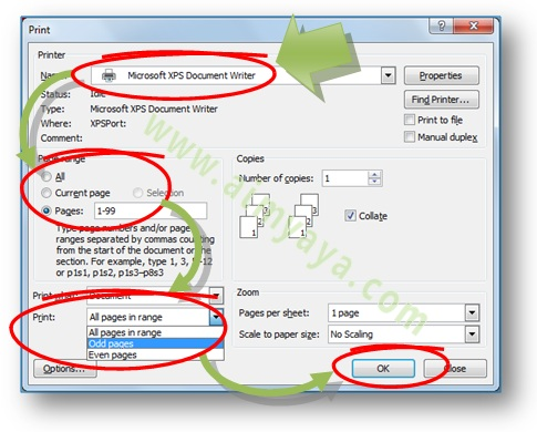 Gambar: Cara melakukan print / mencetak dokumen Bolak-balik di Microsoft Word 2007