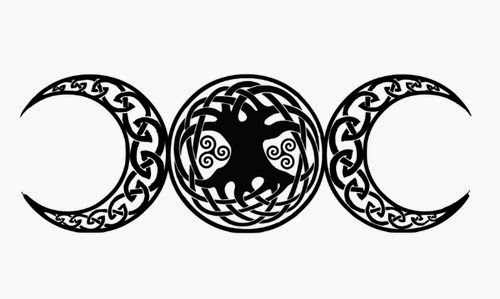 Moons opposite and Celtic spirals tattoo stencil