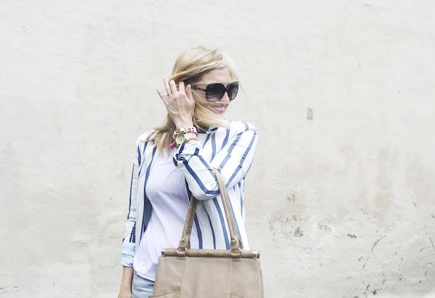 Olivia & Joy handbag, Zara striped blazer, StyleMint tee