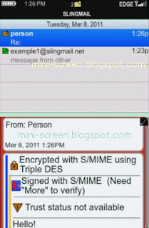 Encrypted Email Message in Blackberry Phone With SlingMail