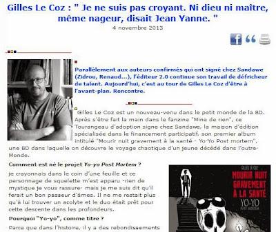 Lire l'interview de Gilles Le Coz sur ActuaBD