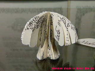 Paper Mushrooms, made out of an old recipe book. Night Sea 90