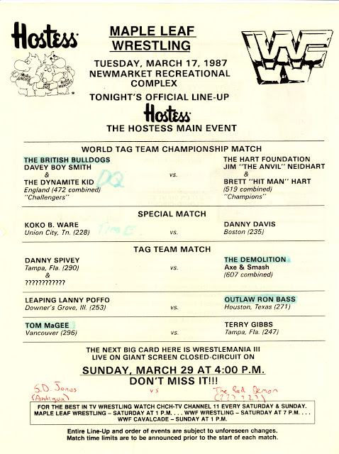 Maple Leaf Wrestling line-up for Newmarket Ontario on March 17, 1987