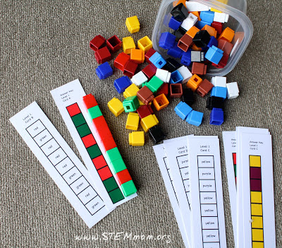 Reading Color Words Activity: Using Colored Cubes: STEMmom.org