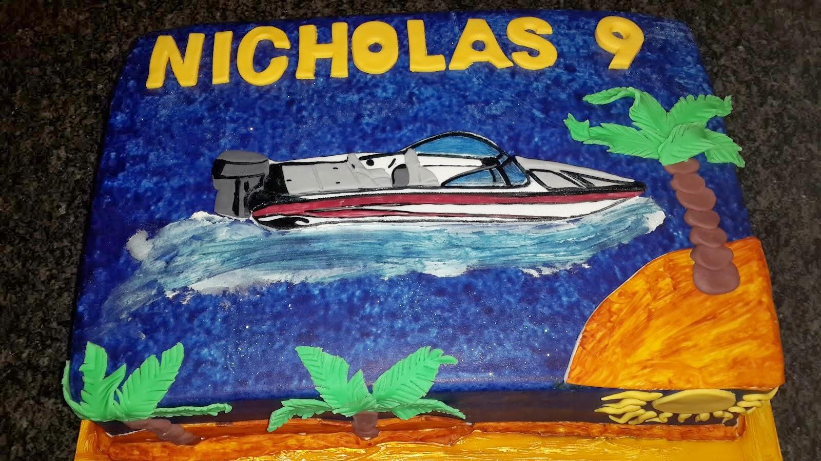 Nicholas's ski boat cake