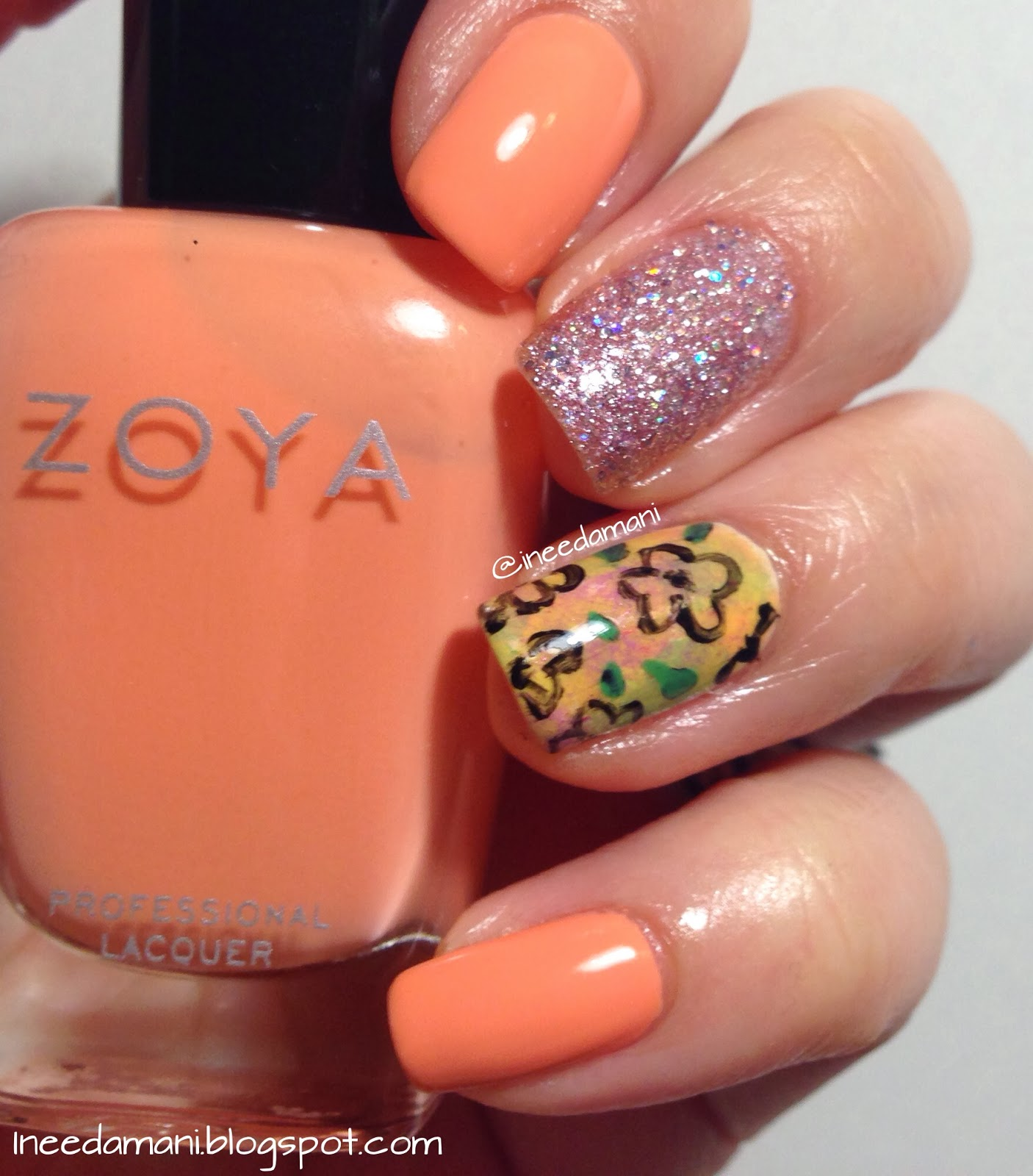 Spring floral with Zoya Cole and Zoya Lux Pixie Dust