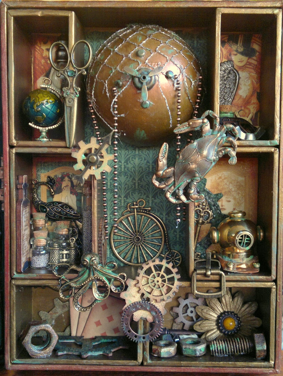 Full moon scrapping steampunk shadow box with a secret for Steampunk arts and crafts