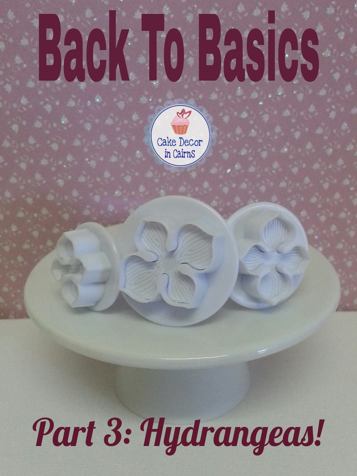 Using Hydrangea Cutters Pink Hydrangea Fondant Flowers Cupcake Topper tutorial