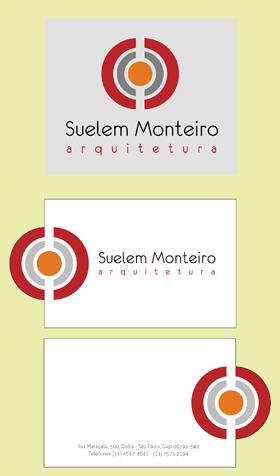 Logomarca e cartão de visita frente e verso com corte especial para a arquiteta Suelem Monteiro