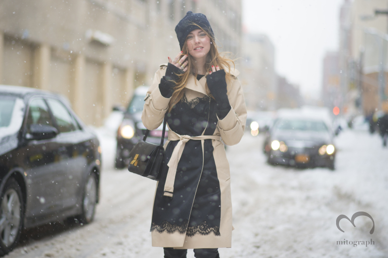 Blogger Chiara Ferragni in the snow during New York Fashion Week 2014 Fall WInter NYFW Season