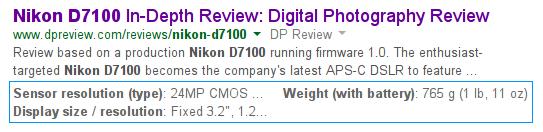 snippet strutturato di google nella description
