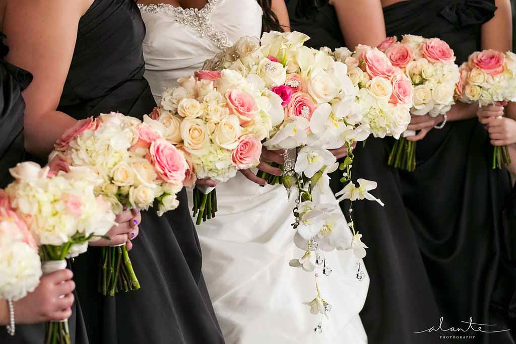 Four Seasons Hotel Seattle wedding, bridal party flowers, wedding flowers