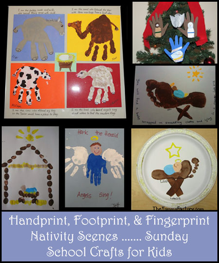 Handprint, Footprint, & Fingerprint Nativity Scenes, Sunday School Christmas Crafts