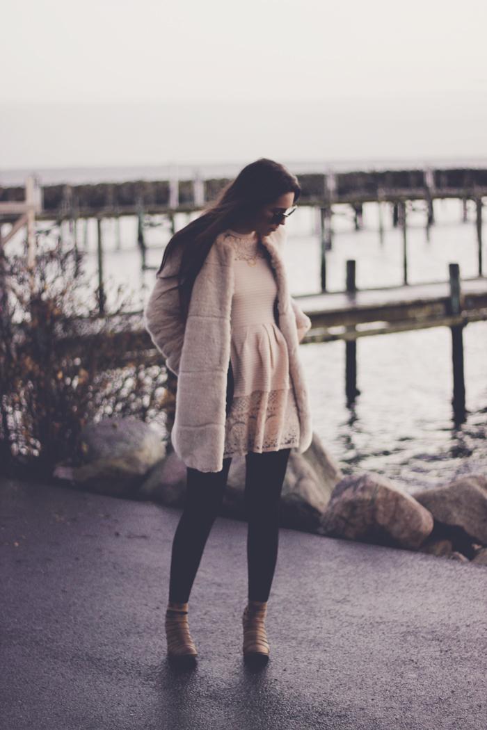 Zara faux fur cream coat aimerose fashion blog