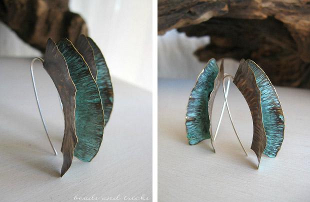 Orecchini a foldforming in ottone e argento con patina verde