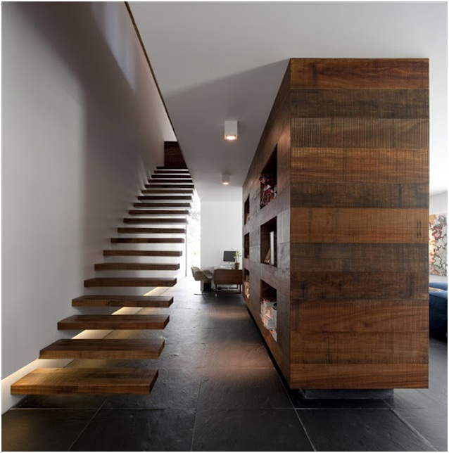 Floating wooden stairways design