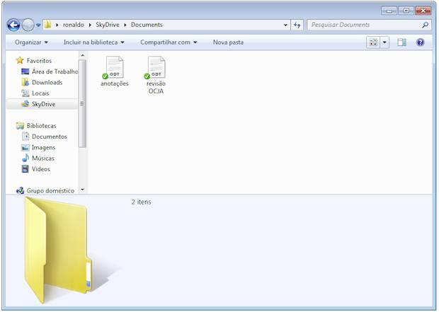 O SkyDrive cria uma pasta para os arquivos armazenado nas nuvens