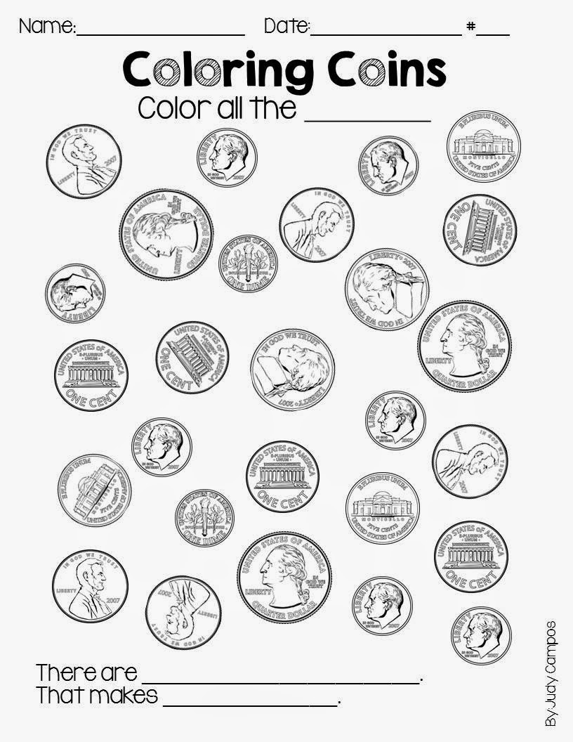Worksheet First Grade Money teaching little apples a first grade blog money coin you want your students to color on the other it focuses equivalent coins let me know how like click pic below to