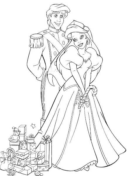 Princess Ariel Christmas Coloring Pages