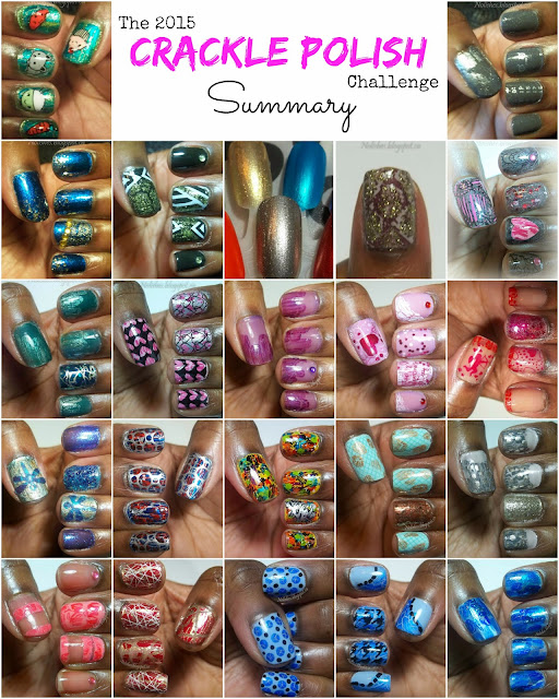 Collage featuring all 22 of my 2015 Crackle Polish Challenge Manicures