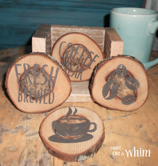 Coffee Themed Log Slice Coasters from Denise on a Whim