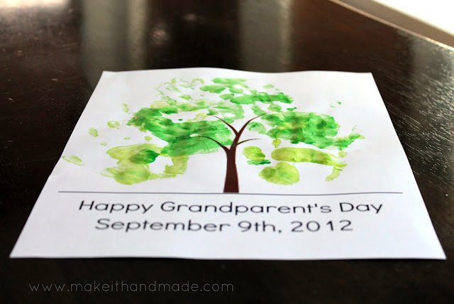 Grandparent's Day Handprint Tree! -- Free printable-- Finished!